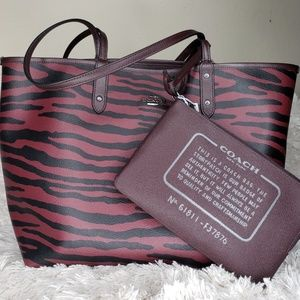 Reversible Coach Tote w/ Tiger Print